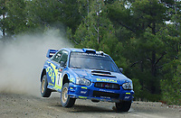 AUTO - WRC 2003 - CYPRUS RALLY -  20030622 -  7 - PETTER SOLBERG - PHILL MILLS / SUBARU IMPREZA WRC - ACTION<br />PHOTO : ERIC VARGIOLU /DIGITALSPORT