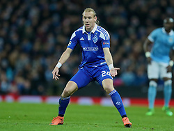 MANCHESTER, ENGLAND - Tuesday, March 15, 2016: FC Dynamo Kyiv's Domagoj Vida in action against Manchester City during the UEFA Champions League Round of 16 2nd Leg match at the City of Manchester Stadium. (Pic by David Rawcliffe/Propaganda)