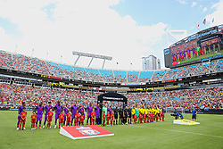 CHARLOTTE, USA - Sunday, July 22, 2018: Liverpool and Borussia Dortmund players line-up before a preseason International Champions Cup match between Borussia Dortmund and Liverpool FC at the  Bank of America Stadium. (Pic by David Rawcliffe/Propaganda)
