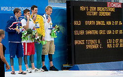 Second placed Eric Shanteau of USA, Winner Daniel Gyurta of Hungary and Third placed Giedrius Titenis of Lithuania and Christian Sprenger of Australia at the victory ceremony after they competed in the  Men's 200m Breaststroke Final  during the 13th FINA World Championships Roma 2009, on July 31, 2009, at the Stadio del Nuoto,  in Foro Italico, Rome, Italy. (Photo by Vid Ponikvar / Sportida)