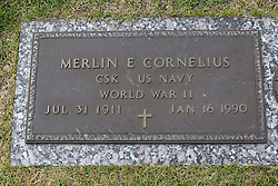 31 August 2017:   Veterans graves in Park Hill Cemetery in eastern McLean County.<br /> <br /> Merlin E Cornelius CSK US Navy World War II Jul 31 1911  Jan 16  1990
