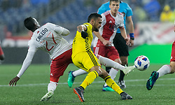 May 19, 2018 - Foxborough, Massachusetts, USA - Foxborough, Massachusetts - May 19, 2018:  In a Major League Soccer (MLS) match, Columbus Crew (yellow) defeated New England Revolution (white/red), 1-0, at Gillette Stadium. (Credit Image: © Andrew Katsampes/ISIPhotos via ZUMA Wire)