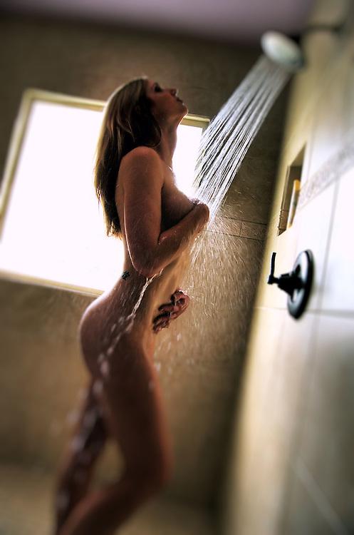 Beautiful woman in shower.