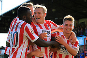 Billy Waters (right) celebrates the winning goal during the Vanarama National League match between Cheltenham Town and Dover Athletic at Whaddon Road, Cheltenham, England on 12 September 2015. Photo by Antony Thompson.