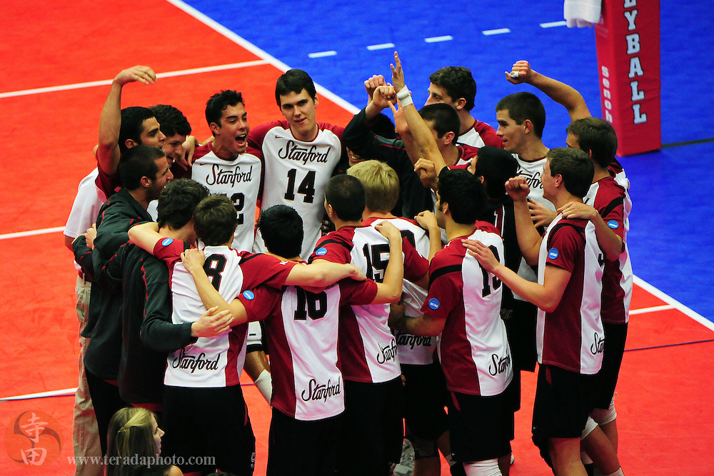 May 6, 2010; Stanford, CA, USA; Stanford Cardinal (not in order) libero Erik Shoji (1), outside hitter Jake Kneller (2), middle blocker Gus Ellis (3), middle blocker Charley Henrikson (4), opposite Evan Romero (5), libero Jordan Inafuku (6), outside hitter Spencer McLachlin (7), outside hitter Garrett Dobbs (8), outside hitter Brad Lawson (9), setter Evan Barry (10), outside hitter Ed Howell (11), setter Kawika Shoji (12), outside hitter Jason Palacios (13), middle blocker Garrett Werner (14), middle blocker Max Halvorson (15), outside hitter Ian Connolly (16), outside hitter Dylan Kordic (17), setter Chandler Kaaa (18), and outside hitter Jake Vandermeer (20) during the 2010 National Collegiate Men's Volleyball Championship semifinal match against the Ohio State Buckeyes at Maples Pavilion. The Cardinal defeated the Buckeyes 30-25, 30-26, 30-17. Mandatory Credit: Kyle Terada-Terada Photo