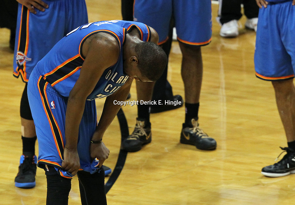Jun 21, 2012; Miami, FL, USA; Oklahoma City Thunder small forward Kevin Durant (35) reacts during the fourth quarter in game five in the 2012 NBA Finals against the Miami Heat at the American Airlines Arena. Mandatory Credit: Derick E. Hingle-US PRESSWIRE