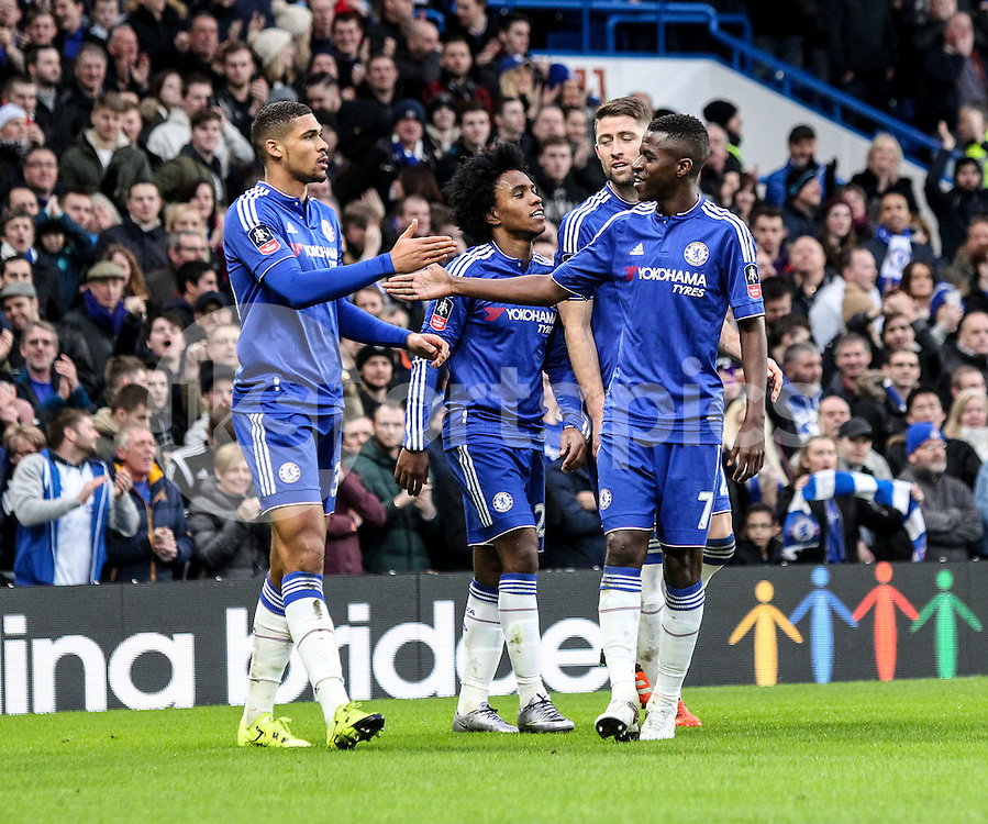 Ruben Loftus-Cheek of Chelsea scores to make it 2-0 and celebrates with teammates during the The FA Cup match between Chelsea and Scunthorpe United at Stamford Bridge, London, England on 10 January 2016. Photo by Ken Sparks.