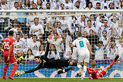Toni Kroos of Real Madrid scores during the La Liga Santander match between Real Madrid CF and Sevilla FC on December 09, 2017 at the Santiago Bernabeu stadium in Madrid, Spain.