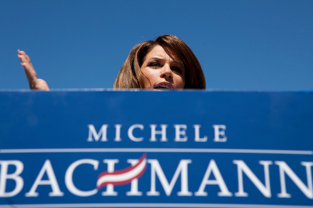 Republican presidential hopeful Michele Bachmann campaigns on Monday, August 8, 2011 in Atlantic, IA.