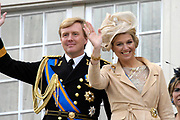 Prinsjesdag 2007 in The Hague. <br /> <br /> On the Photo:  Maxima en Willem Alexander  at the &quot;balcony Scene&quot;