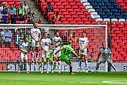 Forest Green Rovers Liam Noble(15) free kick at goal during the Vanarama National League Play Off Final match between Tranmere Rovers and Forest Green Rovers at Wembley Stadium, London, England on 14 May 2017. Photo by Adam Rivers.