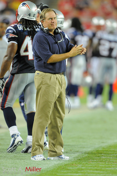 New England Patriots head coach Bill Belichick during the Pats game against the Tampa Bay Buccaneers at Raymond James Stadium on Aug. 18, 2011 in Tampa, Fla...©2011 Scott A. Miller.