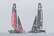 The Great Sound, Bermuda 12th June 2017. Emirates Team New Zealand and Artemis Racing sail race seven of the Louis Vuitton America's Cup Challenger series. The race was abandoned after the wind stopped and race time limit was exceeded.