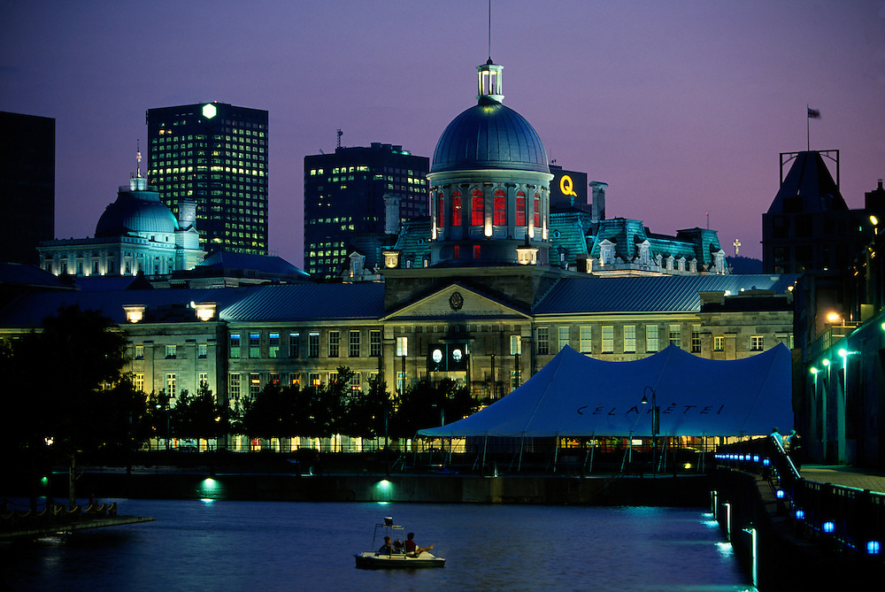 Twilight view from the Old Port to the Bonsecours Market and Old Montreal, Montreal, Quebec, Canada
