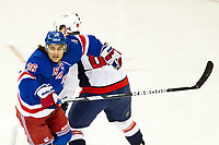 Ishockey<br /> NHL<br /> Foto: imago/Digitalsport<br /> NORWAY ONLY<br /> <br /> December 08, 2013: New York Rangers Right Wing Mats Zuccarello Aasen (36) and Washington Capitals Defenceman Nate Schmidt (88) during a NHL Eishockey Herren USA game between the Washington Capitals and the New York Rangers at Madison Square Garden in New York, NY. The Capitals defeated the New York Rangers by a score of 4-1.