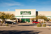 "15 JANUARY 2010 - TUCSON, AZ:    The Sportsman's Warehouse store in Tucson, AZ, Saturday, January 15. Jared Lee Loughner bought the pistol he allegedly used to kill six people here. Six people were killed and 14 injured in the shooting spree at a ""Congress on Your Corner"" event hosted by Arizona Congresswoman Gabrielle Giffords at a Safeway grocery store in north Tucson on January 8. Congresswoman Giffords, the intended target of the attack, was shot in the head and seriously injured in the attack but is recovering. Doctors announced that they removed her breathing tube Saturday, one week after the attack. The alleged gunman, Jared Lee Loughner, was wrestled to the ground by bystanders when he stopped shooting to reload the Glock 19 semi-automatic pistol. Loughner is currently in federal custody at a medium security prison near Phoenix.  PHOTO BY JACK KURTZ"