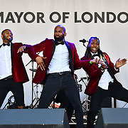 Forbacks performs at the Feast of St George to celebrate English culture with music and English food stalls in Trafalgar Square on 20 April 2019, London, UK.