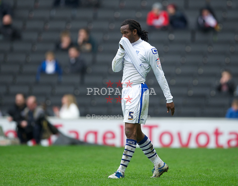 MILTON KEYNES, ENGLAND - Easter Monday, April 9, 2012: Tranmere Rovers' Ian Goodison looks dejected as his side lose 3-0 to Milton Keynes Dons during the Football League One match at the Stadium MK. (Pic by David Rawcliffe/Propaganda)