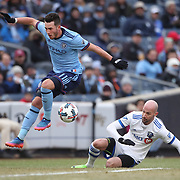 NEW YORK, NEW YORK - March 18: Jack Harrison #11 of New York City FC challenged by Laurent Ciman #23 of Montreal Impact during the New York City FC Vs Montreal Impact regular season MLS game at Yankee Stadium on March 18, 2017 in New York City. (Photo by Tim Clayton/Corbis via Getty Images)