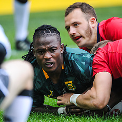 Seabelo Senatla of South Africa scores a try during match between South Africa and Scotland at the HSBC Paris Sevens, stage of the Rugby Sevens World Series at Stade Jean Bouin on June 9, 2018 in Paris, France. (Photo by Sandra Ruhaut/Icon Sport)