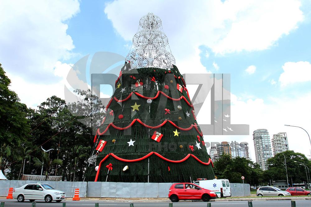 SAO PAULO, SP, 08 JANEIRO 2013 - DESMONTAGEM ARVORE DE NATAL DO IBIRAPUERA -  Continua nessa terca (08) a desmontagem da arvore de Natal do Ibirapuera  de forma rapida, na zona sul da Capital paulista . (FOTO: LEVY RIBEIRO / BRAZIL PHOTO PRESS)
