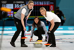 Great Britain's Eve Muirhead (centre) during the Women's Round Robin Session 1 match against Olympic Athletes from Russia at the Gangneung Curling Centre during day five of the PyeongChang 2018 Winter Olympic Games in South Korea.