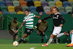 September 20, 2018 - Lisbon, Portugal - Sporting's forward Raphinha from Brazil (L) , vies with Qarabag's defender Jakub Rzezniczak during the UEFA Europa League Group E football match Sporting CP vs Qarabag at Alvalade stadium in Lisbon, on September 20, 2018. (Credit Image: © Pedro Fiuza/NurPhoto/ZUMA Press)