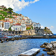 Low Angle View Of Buildings At Amalfi Coast Against Sky