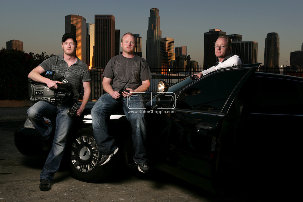 10th April 2008, Los Angeles, California. Three daredevil brothers from Dorset are set to become America's biggest reality TV stars. Howard, Austin and Marc Raishbrook, who risk their lives filming police car chases and shootouts, have been offered a mega bucks deal to star in their own series. Pictured left to Right is Howard, Austin and Marc Raishbrook. PHOTO © JOHN CHAPPLE / REBEL IMAGES.john@chapple.biz    www.chapple.biz