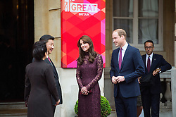 © Licensed to London News Pictures. 21/10/2015. London, UK. CATHERINE, Duchess of Cambridge, and PRINCE WILLIAM, Duke of Cambridge accompanied Chinese president  XI JINPING and his wife PENG LIYUAN as they attend Creative Collaborations event at Lancaster House in London, as part of the Chinese state visit to the uk. The couples were shown a new Aston Martin DB10 from the Spectre James bond film and new London Bus and taxi transports.  Photo credit: Ben Cawthra/LNP