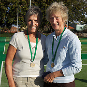 June Fisher, Great Britain, (left) and Susan Hill, Great Britain,  Semi Finalists, 65 Womens doubles competition during the 2009 ITF Super-Seniors World Team and Individual Championships at Perth, Western Australia, between 2-15th November, 2009