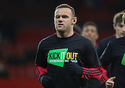 Wayne Rooney of Manchester United with Kick it Out t shirt during the Barclays Premier League match between Manchester United and Stoke City at Old Trafford, Manchester, England on 2 February 2016. Photo by Phil Duncan.