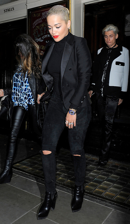 Singer Rita Ora enjoys a night out at the Theatre Royal Haymarket to watch The Elephant Man starring Bradley Cooper. London, UK. 29/05/2015<br /> BYLINE MUST READ : GOTCHAIMAGES.COM<br /> <br /> Copyright by &copy; Gotcha Images Ltd. All rights reserved.<br /> Usage of this image is conditional upon the acceptance <br /> of Gotcha Images Ltd, terms and conditions available at<br /> www.gotchaimages.com