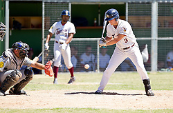 Bellville Tygers batter Wesley Greeff watches the ball into the mitt of Bothasig Knights catcher Dale Feldtman during the Major league game held at the Tygers' home ground at the PP Smit stadium in Bellville on 23 October 2016. Photo by John Tee/RealTime Images.