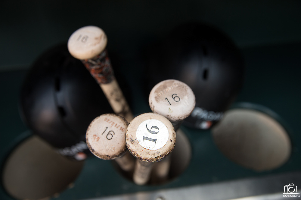 A collection of bats for San Francisco Giants left fielder Angel Pagan (16) sit in the dugout before the San Francisco Giants host the New York Mets at AT&T Park in San Francisco, Calif., on August 21, 2016. (Stan Olszewski/Special to S.F. Examiner)