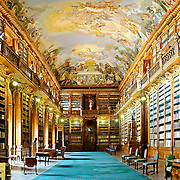 The Philosophical Hall in the Strahov Hall in the Strahov Monastery, Prague. This room was built by Jan Ignaz Palliardi in the Baroque style.