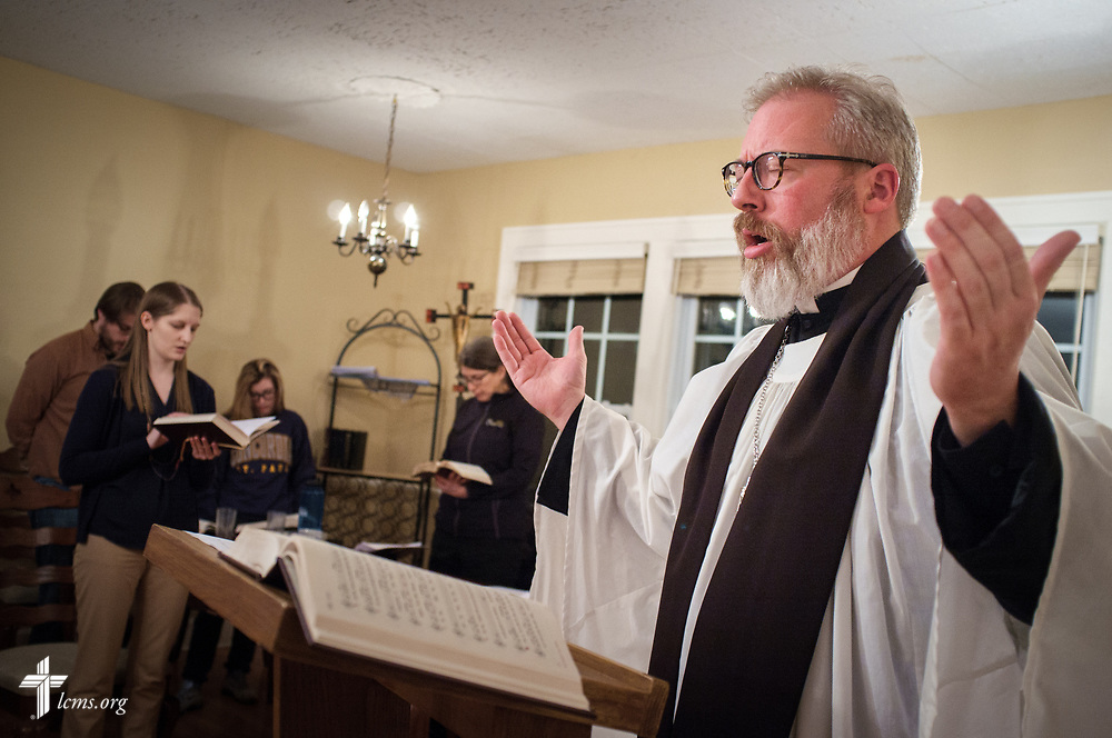 The Rev. David Kind, pastor of University Lutheran Chapel, leads Vespers at Luther House on Wednesday, Feb. 21, 2018, next to the University of Minnesota, Twin Cities, in Minneapolis. LCMS Communications/Erik M. Lunsford