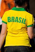 A female fan of Brazil