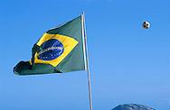 Brazilian Flag and Soccer ball.Rio de Janeiro.Brazil
