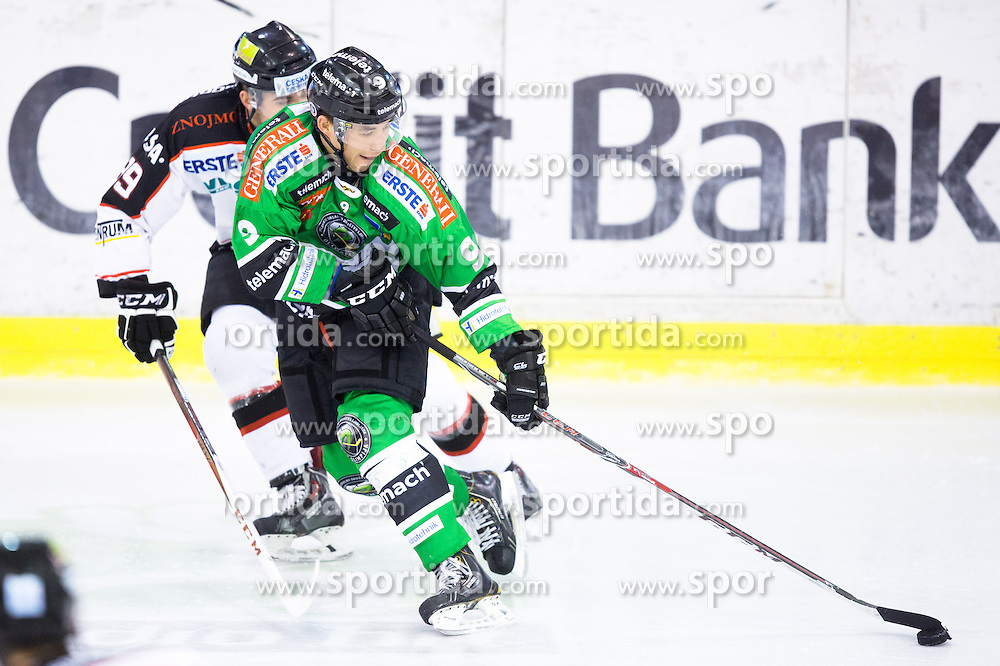 03.11.2013, Hala Tivoli, Ljubljana, SLO, EBEL, HDD Telemach Olimpija Ljubljana vs HC Orli Znojmo, 30th Game Day, in picture Judd Blackwater (HDD Telemach Olimpija, #9) vs Jan Lattnaer (HC Orli Znojmo, #89) during the Erste Bank Icehockey League 30th Game Day match between HDD Telemach Olimpija Ljubljana and HC Orli Znojmo at the Hala Tivoli, Ljubljana, Slovenia on 2013/11/03. (Photo By Matic Klansek Velej / Sportida)