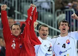 Tomas Stranovsky (22) and Radoslav Antl (23) and Peter Kukucka (4) of Slovakia during 21st Men's World Handball Championship 2009 Main round Group I match between National teams of Slovakia and Korea, on January 24, 2009, in Arena Zagreb, Zagreb, Croatia.  (Photo by Vid Ponikvar / Sportida)