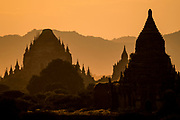 Winido Temple view at sunset with mountains, Bagan, Myanmar