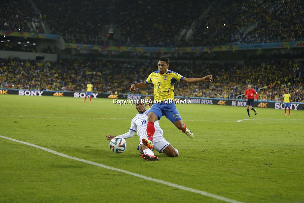 Jefferson Montero of Ecuador. Honduras v Ecuador FIFA World Cup Brazil. Curitiba, Brazil. 20 June 2014