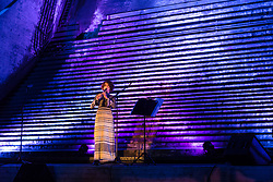 © Licensed to London News Pictures. 21/09/2016. LONDON, UK.  Clarinetist, Kate Roman performs inside the bascule chamber underneath Tower Bridge during a dress rehearsal, which include a new composition by composer Iain Chambers, a response to Handel's Water Music. The Bascule Chambers are set deep below the level of the River Thames underneath the bascules. Photo credit: Vickie Flores/LNP