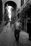 March 1997.Swiss actor Mario Adorf in Rome,in via dei Capellari