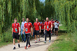 LYON, FRANCE - Wednesday, July 6, 2016: Wales' Simon Church, Andy King, Aaron Ramsey and James Collins on a pre-match walk near their team hotel before the UEFA Euro 2016 Championship Semi-Final match against Portugal. (Pic by David Rawcliffe/Propaganda)