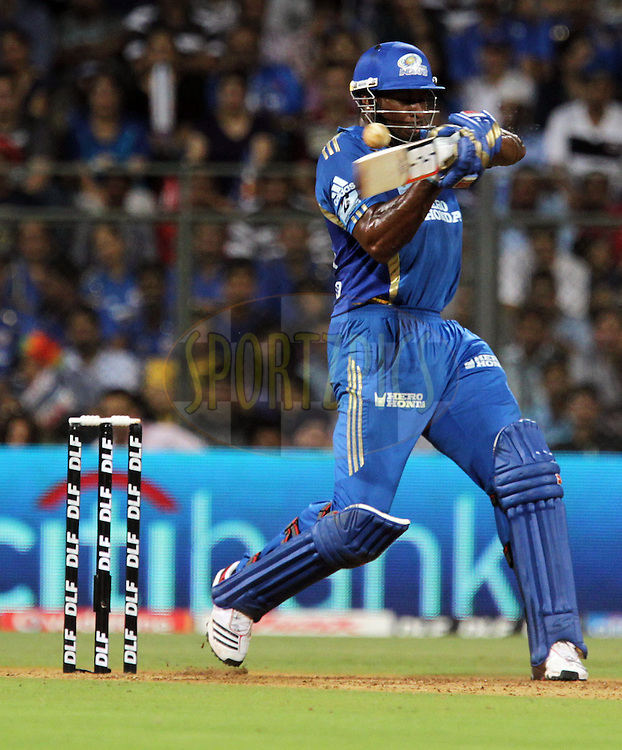 Mumbai Indian player Kieron Pollard bats during match 66 of the the Indian Premier League ( IPL ) Season 4 between the Mumbai Indians and the Rajasthan Royals held at the Wankhede Stadium, Mumbai, India on the 20th May 2011..Photo by BCCI/SPORTZPICS.