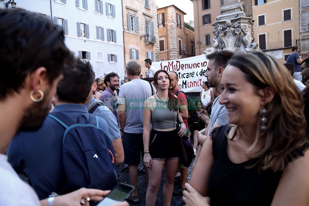 July 20, 2017 - Roma, RM, Italy - Presidium in Piazza del Pantheon in Rome in solidarity with the people denounced after the demonstration of 20 June (Credit Image: © Matteo Nardone/Pacific Press via ZUMA Wire)