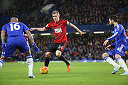 West Brom midfielder and captain Darren Fletcher trying to find a way through during the Barclays Premier League match between Chelsea and West Bromwich Albion at Stamford Bridge, London, England on 13 January 2016. Photo by Matthew Redman.
