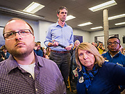 20 MAY 2019 - DAVENPORT, IOWA: BETO O'ROURKE, (center) a Texas Democrat, listens to a question from an attendee during a town hall style campaign appearance in Davenport. About 200 people came to the event in the River Music Experience, a downtown venue. O'Rourke, running to be the 2020 Democratic nominee for the US Presidency, has made climate change a central part of his campaign. He held a town hall in Davenport Monday. Iowa traditionally hosts the the first election event of the presidential election cycle. The Iowa Caucuses will be on Feb. 3, 2020.                     PHOTO BY JACK KURTZ